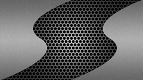 Abstract Shiny Brushed Steel on Dark Metal Mesh Background royalty free illustration