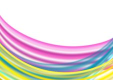 Abstract Blurry Pink, Blue and Yellow Curves in White Background royalty free illustration
