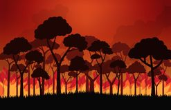 Forest fires burning tree in fire flames. Vector illustration stock illustration