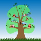 Cute cartoon owls on tree - Vector. Cute cartoon owl.  Cute owl`s family on tree. a cute baby owls sitting on a branch royalty free illustration