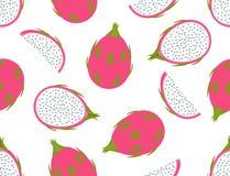 Seamless pattern of fresh dragon fruit set on white background. Vector illustration stock illustration