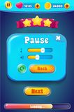 Pause menu scene pop up with sound music and buttons royalty free illustration