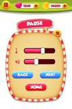 Pause menu scene pop up with sound music and buttons vector illustration