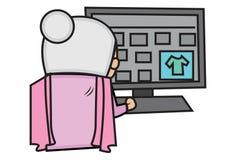 Vector Cartoon Illustration Of Cute Grandmother. vector illustration