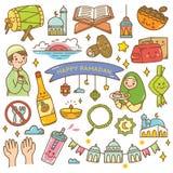 Ramadan kawaii doodles stock illustration