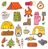 Camping kawaii doodle set isolated on white background royalty free illustration