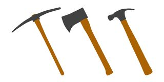 Axe, Pick axe and hammer. Simple. Vector. stock illustration