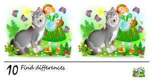 Logic puzzle game for children. Need to find 10 differences. Printable page for baby brainteaser book. Little Red Riding Hood. royalty free illustration