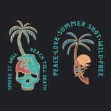 Summer Illustration skull and gun tropical royalty free illustration