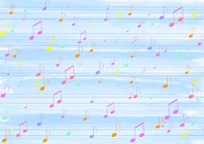 Colorful Music Notes in Blue Watercolor Pattern Background