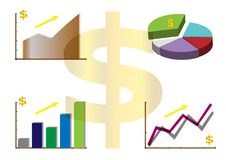 Business graph trend up, growth profit, good status financial, vector stock illustration