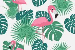 Seamless pattern of tropical green palm jungle and monstera leaves with flamingo. On white background stock illustration