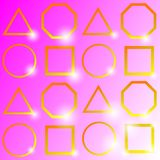 `Shining golden geometry ,on pink background,vector illustration.` stock illustration