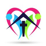 Church care globe people with home heart real estate logo icon cross love symbol on white background. Church care with globe people  heart cross love church royalty free illustration