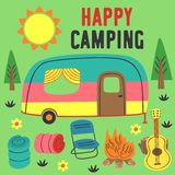 Poster happy camping with a trailer. Vector illustration, eps royalty free illustration