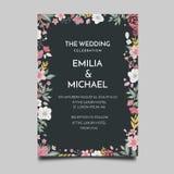 Floral Wedding Invitation Template Simple and Elegant Design. Vector royalty free illustration