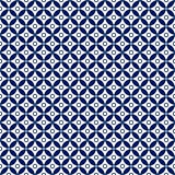 Seamless Dark Blue Geometric Flowers and Circles Pattern in White Background royalty free illustration