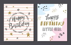 Set of cute birthday card templates royalty free illustration