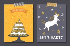 Set of cute birthday card design template stock illustration