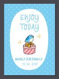 Set of cute birthday card design template vector illustration