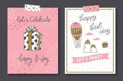 Set of cute birthday card design template royalty free illustration