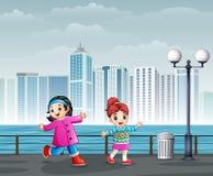 Happy Cheerful Children Walking in City Park. Illustration of Happy Cheerful Children Walking in City Park royalty free illustration