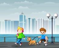 Happy Cheerful Children Walking in City Park. Illustration of Happy Cheerful Children Walking in City Park vector illustration