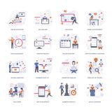 Flat Conceptual Illustrations Set stock illustration