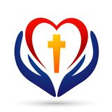 City church people union hand care heart love logo design icon on white background. Globe church people union hand care love logo design icon on white background vector illustration