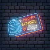 Back to school themed neon sign vector illustration