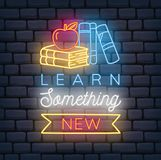Back to school themed neon sign stock illustration