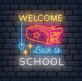 Back to school themed neon sign royalty free illustration