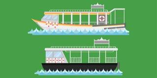 Express boat ship boat vesselcraft barge ark river water Lifebuoy barge float raft punt pram pontoon passenger fare chair pad tick. Et vector illustrator stock illustration
