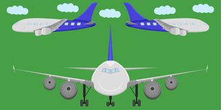 Airplane transport sky fly flight wing jet side front view aviation cloud vector illustration. Airplane transport sky fly flight wing jet side front view stock illustration