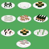 Sushi is a japanese dish of specially prepared vinegared rice aji amaebi anago conger eel ebi nigiri fried egg hamachi hotate ika vector illustration