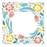 Hand drawn illustration for mother`s day. Vector concept with flowers on white background. - Vector. Color illustration with flowers.  Floral frame, hand drawn vector illustration