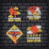 Chinese New Year greeting in neon effect  illustration vector illustration
