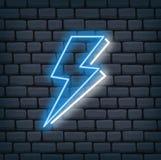 Thunder bolt in neon effect vector illustration royalty free illustration