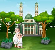 Muslim people cartoon going to the mosque vector illustration