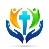 City church people union care love logo design icon on white background. Globe church people union hands taking care love logo design icon on white background in vector illustration