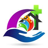 Globe church save world People care Hands taking care save protect family logo icon element vector on white background. In ai10 illustrations royalty free illustration