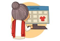 Vector Cartoon Illustration Of Old Lady. Vector cartoon illustration of cute grandmother shopping on computer. Isolated on white background vector illustration