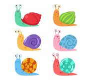 Cute cartoon snail vector set with different shells. On white background stock illustration