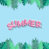 Summer background with pink text and tropical  leafs - paper art on blue background vector illustration stock illustration