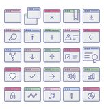 Icons related to web browser windows and fully editable. NIcons related to web browser windows and fully editable n vector illustration