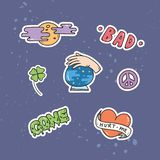 Set of cute patches or sticker stock illustration