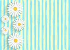 White Daisies in Yellow Background with Blue Watercolor Stripes Pattern stock illustration