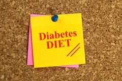 Diabetes DIET Written On Yellow Note With Push Pin On Cork Board. Diabetes DIET written in red on yellow note paper with a push pin on a cork board stock photography