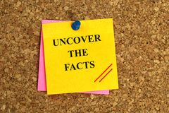 Uncover the facts illustration. Yellow and pink post it notes on cork board with black text graphics uncover the facts with thumb tack stock image