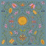 Colorful folk retro peaceful flower ethnic collection on modern blue background. Vector illustration of colorful folk retro peaceful flower ethnic collection stock illustration